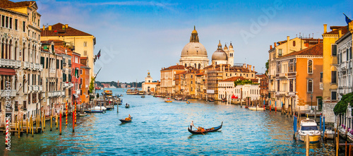 Foto Canal Grande panorama at sunset, Venice, Italy