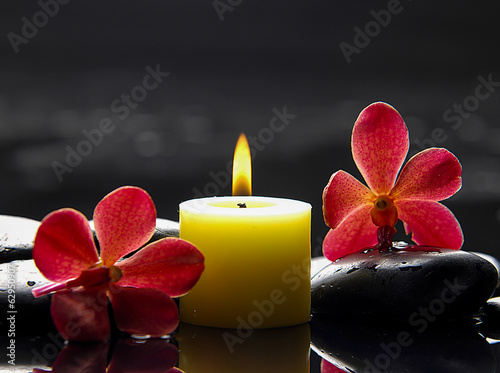 Photo sur Toile Spa Two red orchid with yellow candle and therapy stones