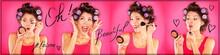 Woman Applying Makeup, Lipstick, Mascara, Blush