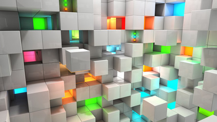 Fototapeta Popularne Abstract background white and color cubes