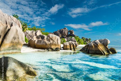 Fotografie, Obraz  Anse Sous d'Argent beach with granite boulders