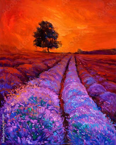 Tuinposter Rood Lavender fields