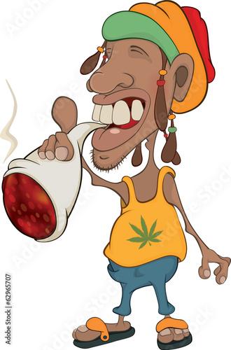 Photo  African man rastaman cartoon