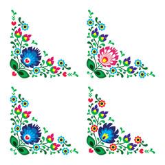 Corner border Polish floral folk pattern,  wzory lowickie