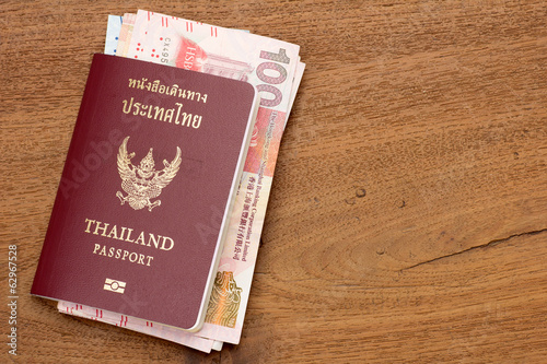Thailand passport with hongkong currency  - Buy this stock