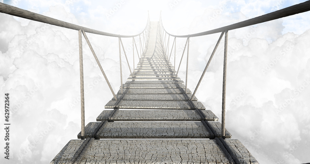 Fototapeta Rope Bridge Above The Clouds