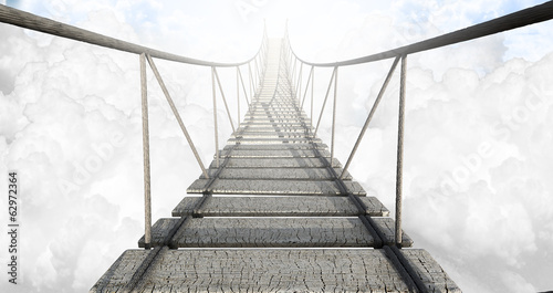Spoed Foto op Canvas Brug Rope Bridge Above The Clouds