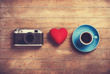 Camera, Red Heart And Cup Of A Coffee.