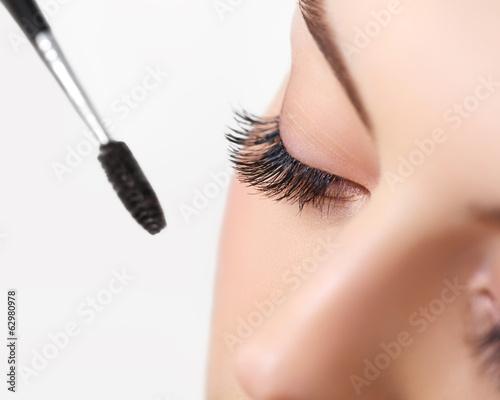 Woman eye with beautiful makeup and long eyelashes. Mascara Canvas-taulu