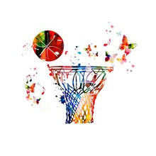Colorful Vector Basketball Hoop And Ball Background