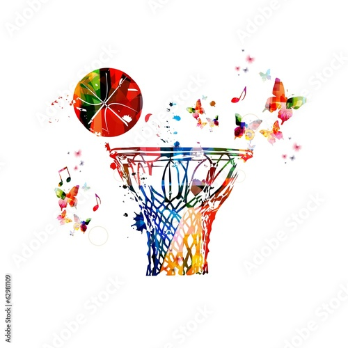 Colorful Vector Basketball Hoop And Ball Background Buy This