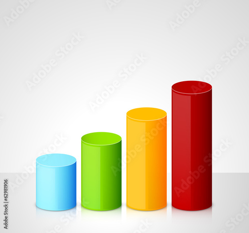 Fotomural Infographic template with colorful cylinders