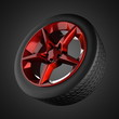 Car wheel on gray background
