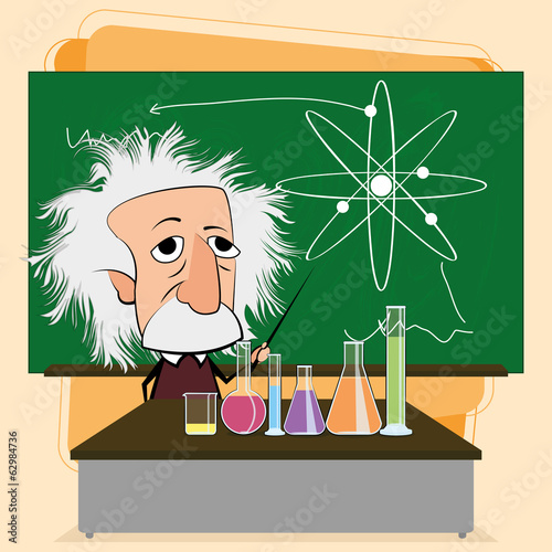 Photo  Albert Einstein Cartoon In A Classroom Scene