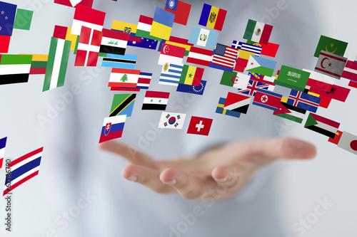 Fotografie, Obraz  hand flags