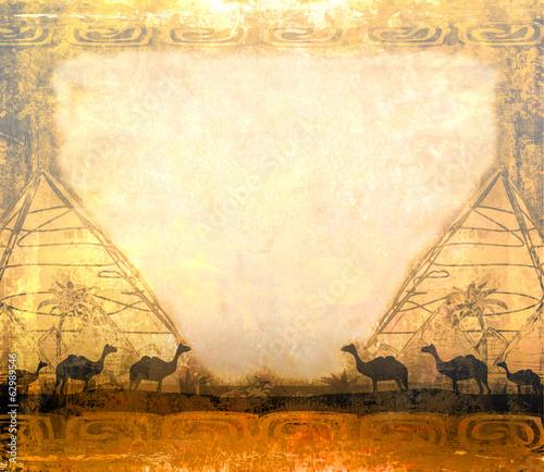 karawana-wielbladow-w-dzikiej-afryce-rama-streszczenie-grunge