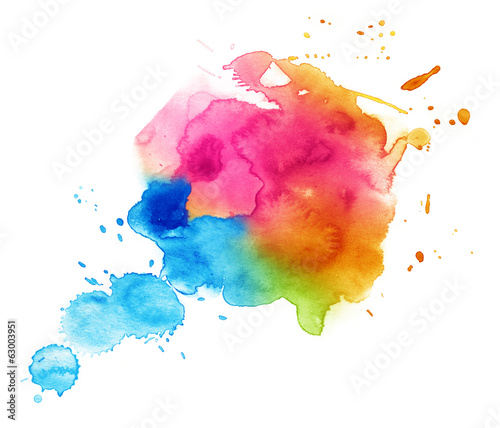 obraz lub plakat Colorful watercolor drop on a white background