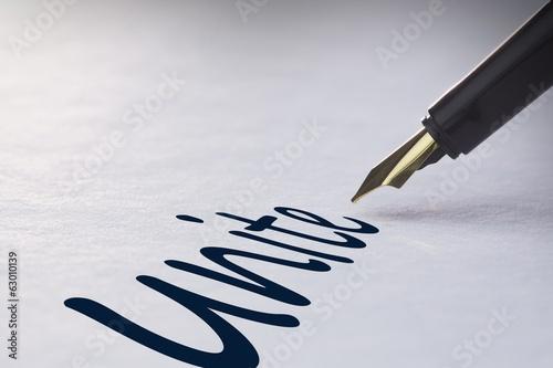 Fotografie, Obraz  Fountain pen writing Unite