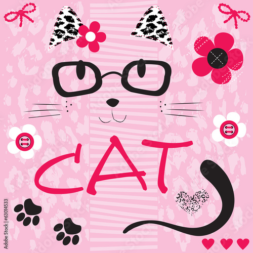 Poster Doodle cute cat face vector illustration