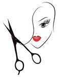 Beauty Woman Head and Scissors. Hairdresser