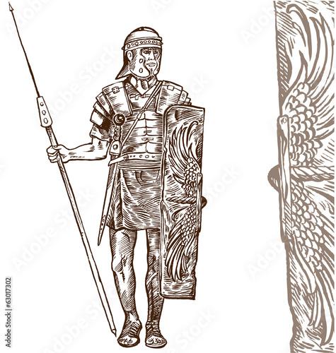 Fotografie, Obraz  roman warrior hand draw