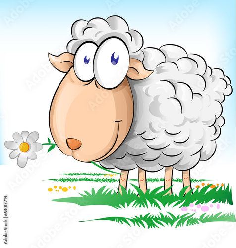 sheep cartoon on  background