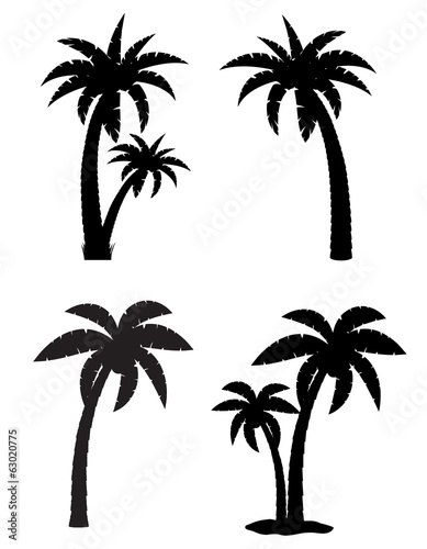 palm tropical tree set icons black silhouette vector illustratio Slika na platnu