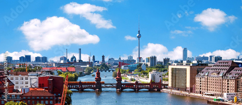 aerial photo berlin skyline Wallpaper Mural