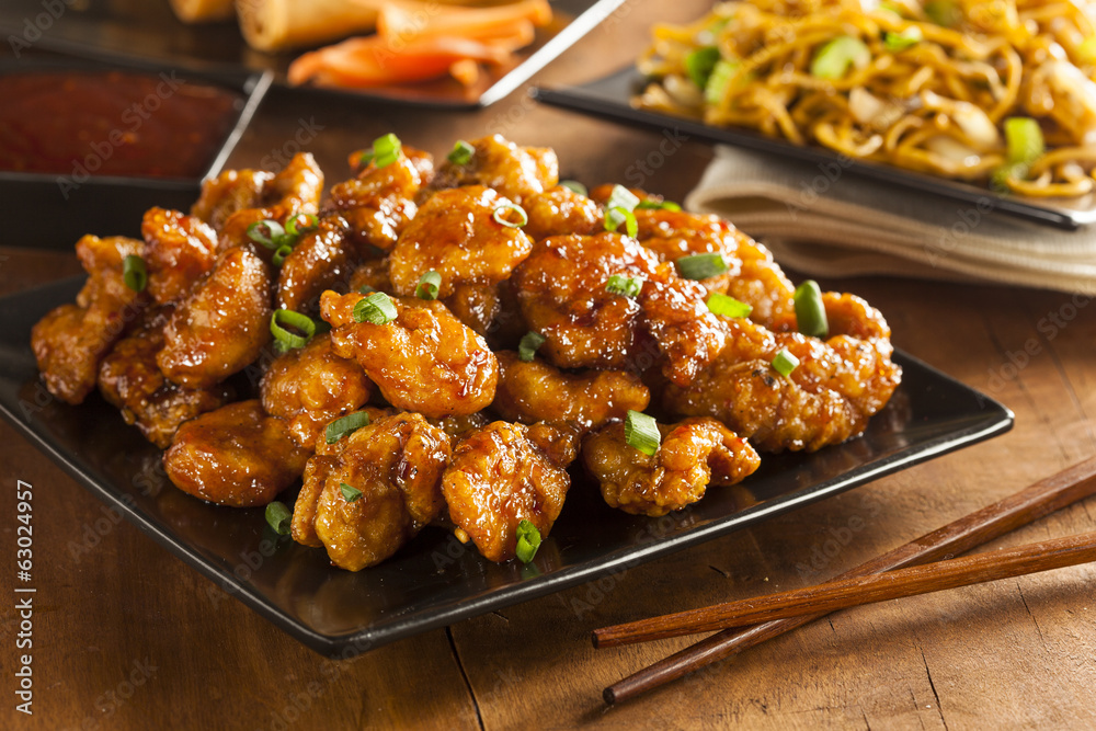 Photo  Asian Orange Chicken with Green Onions