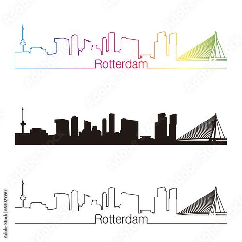 Staande foto Rotterdam Rotterdam skyline linear style with rainbow