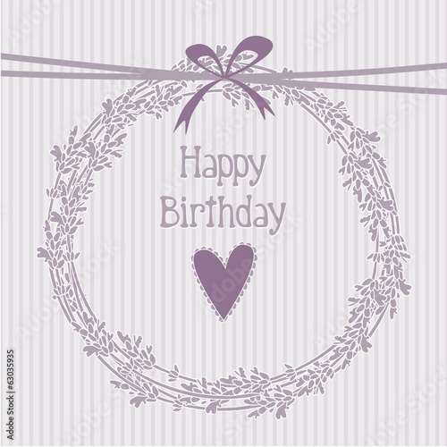Photo  Romantic birthday card with lavender wreath, invitation, vector