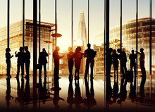 Silhouette Of Business People In London Office