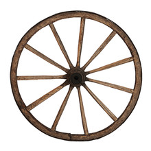 Old Wooden Wheel Isolated On W...