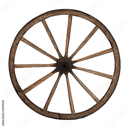 Old wooden wheel isolated on white Wall mural