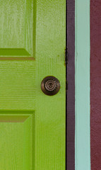 Door knob on color door