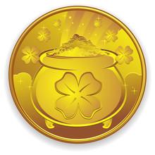 Lucky Gold Coin Charm Cartoon ...