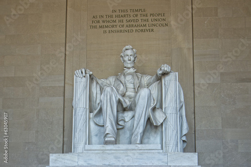 Fotografia  Abraham Lincoln statue at Washington DC Memorial