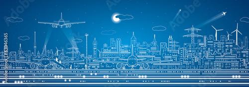 Fényképezés  Airport panorama, vector city infrastructure