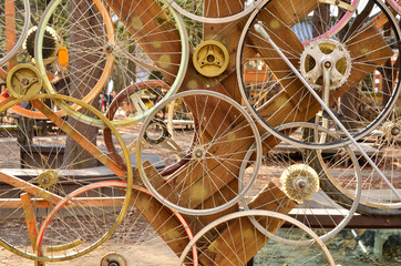 Fototapeta Bicycle wheels pattern decorate to background