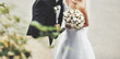 canvas print picture Young wedding couple. Groom and bride together.