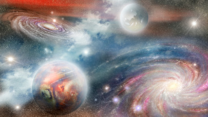 Fototapeta Do sypialni spiral galaxy and planets