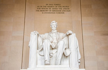The Statue Of Abraham Lincoln Inside Lincoln Memorial