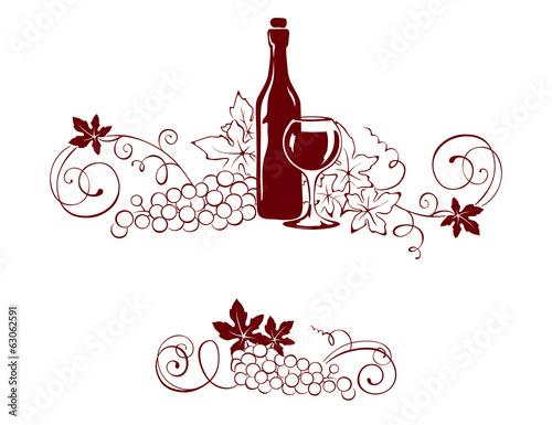 ustaw-elementy-projektu-winorosli-i-butelke-wina