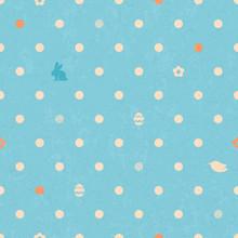 Easter Polka Dot Seamless Vintage Pattern In Blue Color.
