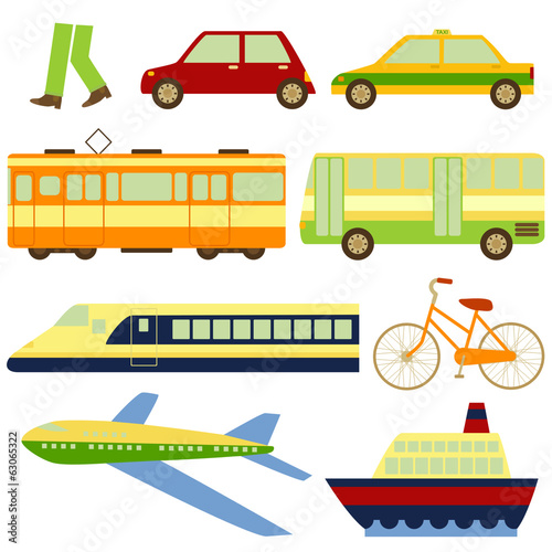 Images of different means of transport