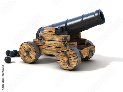 cannon on a white background Canvas Print