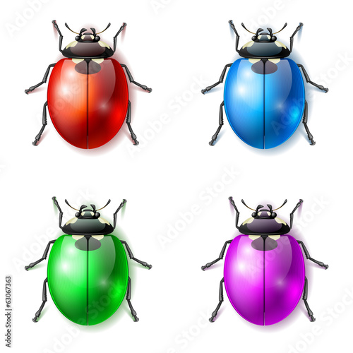 Set of multicolored fictional beetles, beetle vector icons Poster