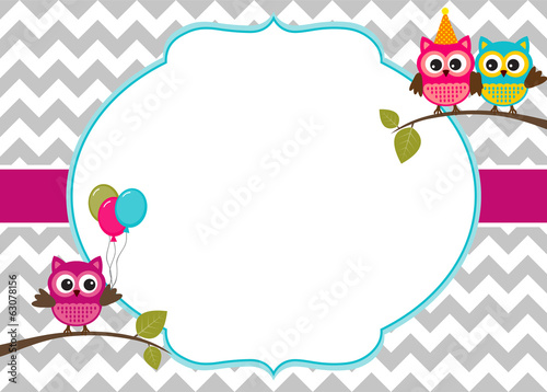 Deurstickers Uilen cartoon Owl party invitation card template with white frame