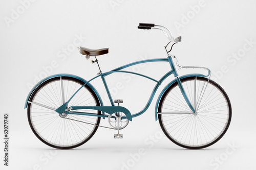 Staande foto Fiets Retro bicycle on a white background.