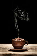Wooden Cup With Beans And Woman-shaped Smoke